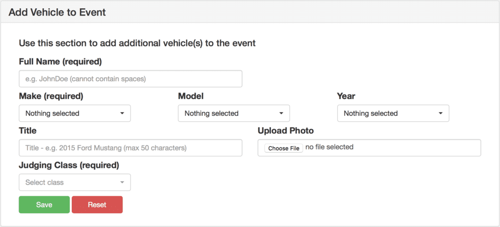 Adding Cars to Show and Assigning them to Judging Classes